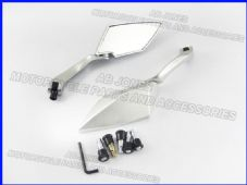 Soko wing side mirrors silver abs head silver alloy stem universal adaptors